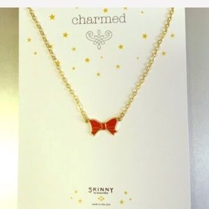 NWT red and gold bow necklace